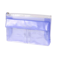 bag type cosmetic zip closure plastic vinyl travel bag with two button pockets