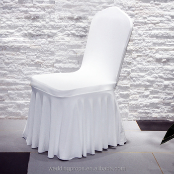 Latest ruffled skirt spandex white chair cover wedding decoration