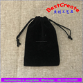 Small black custom velvet pouch with printed string