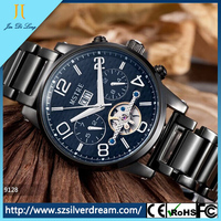 New arrival fashion design stainless steel 30m water resistance multi functions mechanical wrist watch for men brand