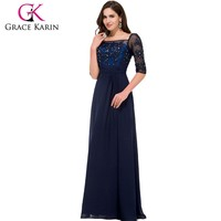 2015 Grace Karin long Floor length Half Sleeve Square Neck Chiffon Navy blue Mother of the bride dress CL008919