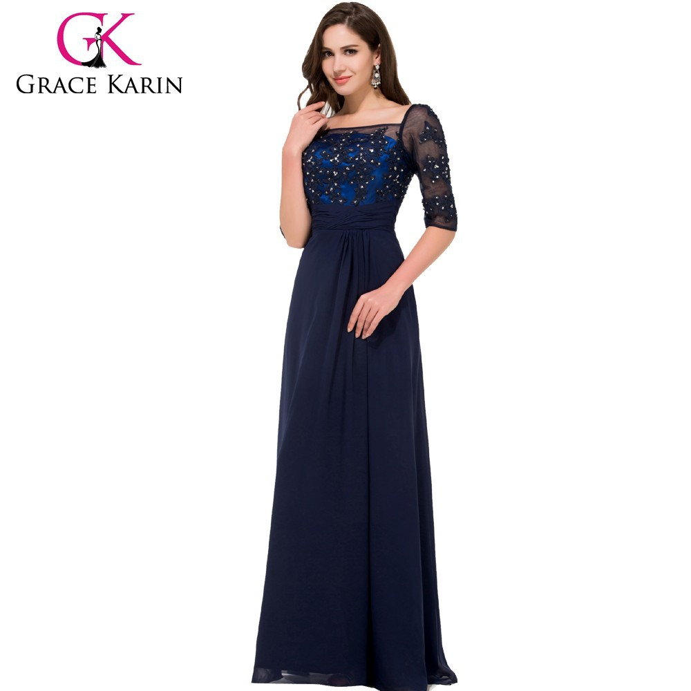 Grace Karin long Floor length Half Sleeve Square Neck Chiffon Navy blue Mother of the bride dress CL008919