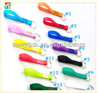 2014 Cheapet Price and colorful custom Top Quality Logo Printed Silicone Bracelet Keyring,rubber keyring, silicone key chains