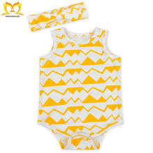 Newborn Printed Sweet Baby Clothes Wholesale Custom Cheap Fashion Girl Rompers With Headbands