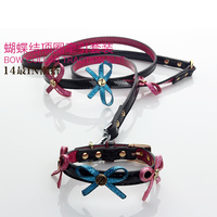 Fashion Innovative Branded Color Bowknot Mirror Surface Leather Dog Collar and Lead