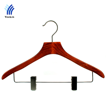Luxury flat top beech wood hanger with clips