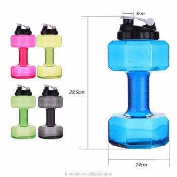 Wholesale high quality newest 2.2l petg water bottle/plastic sport water bottle/big shaker Dumbbell fitness kettle