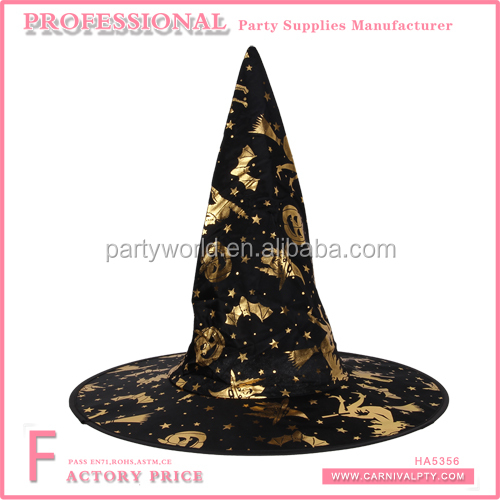 Unisex witch hat for kids party decorated to make party black felt witch hat