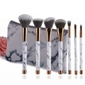 High end synthetic hair 7pcs marble makeup brush set with zipper bag accept custom logo