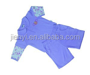 Summer round collar long sleeve purple baby shorts cotton suits