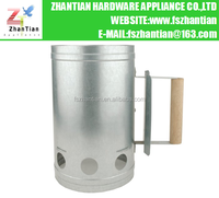Galvanized Steel Chimney Style Charcoal Starter With Wooden Handle