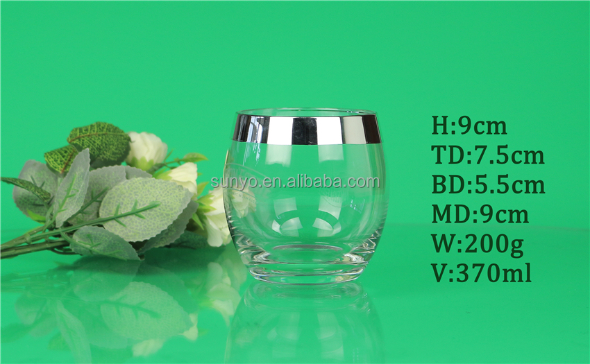 Sodalime handblown Stemless wine glass set clear high quality silver plated round drinking glass