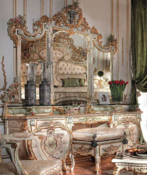 Luxury European style royal wooden hand carving and painting dressing table with antique finishing