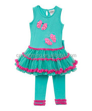 clothing factory in china,cotton rare edition!Aqua&fuchsia butterfly tunic &leggings for baby girls