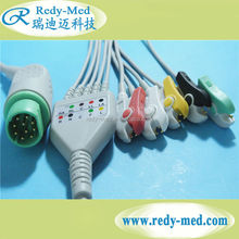 Siemens Compatible One-Piece ECG Cable 10 pin 5 leads with grabber