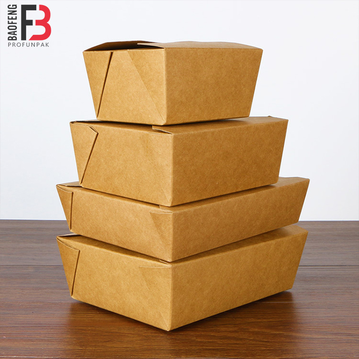 #3 Kraft recycled paper box foldable paper dinner box