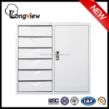 2015 hot selling office metal furniture , Silver Gray IKEA Metal Office Cabinet with lock and Label Holders and 6 drawers