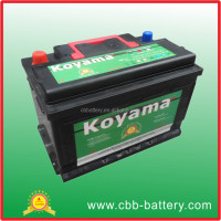 High quality 75ah 12V SMF auto car battery DIN75-MF