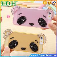 Glitter Diamond Little Bear Face Case for iPhone 5 5s Clear Soft TPU Bling Rhinestone Back Cover for Apple iPhone5 5s With Strap