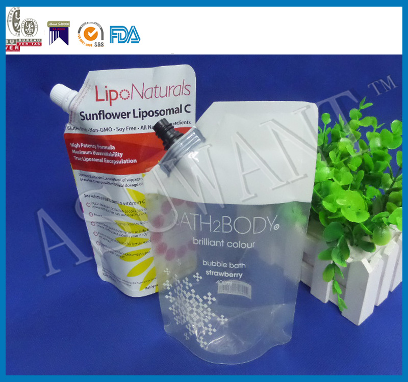 factory wholesale custom stand up pouch with spout, sauce pouch, salad bag with spout