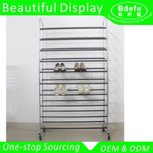 Customized Shoes Display Rack Shoes Tower with Wheels