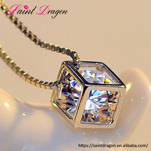 S925 silver korea style happy love chain <strong>necklace</strong> Magic Square shape pendant <strong>necklace</strong> for women