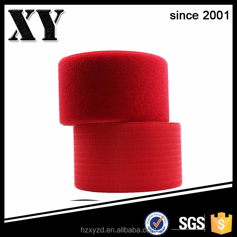 custom made 80mm bright red polyester/nylon sewing hook and loop tape for wrist straps