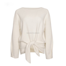 OEM Bowknot Wool Blend Ladies Knit Sweater Design Knitwear Fashion Clothing