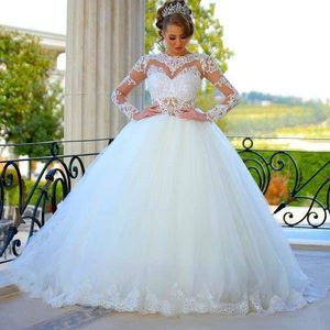 2018 Long Sleeves Ball Gown Wedding Dresses Sheer Lace Puffy Princess Bridal Gowns