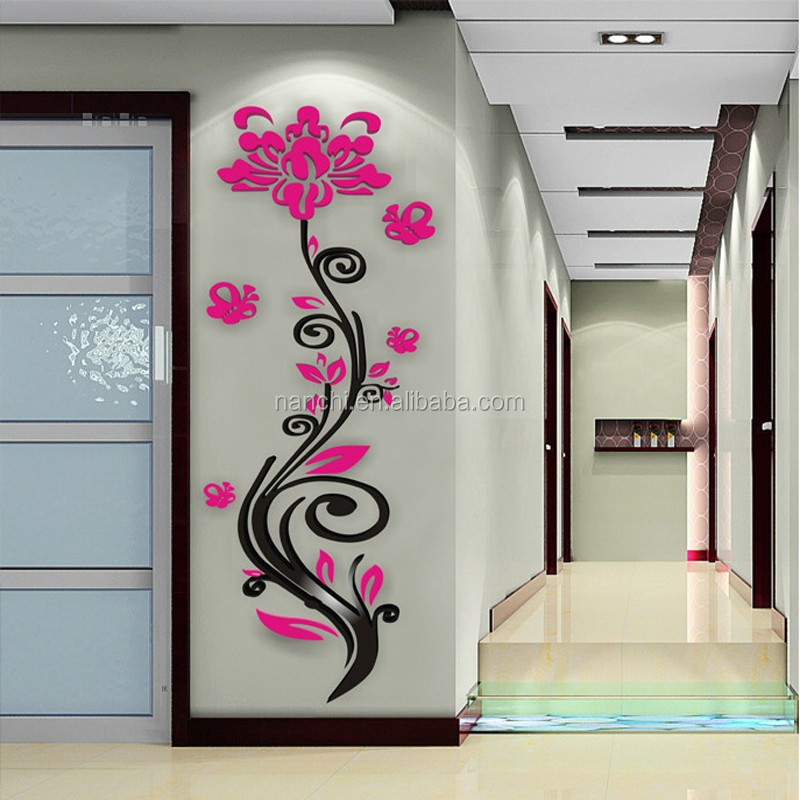 Rose flower acrylic three-dimensional wall stickers modern brief 3d wall sticker Decor Home DIY Self-adhesive Removable decals