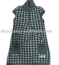 2014 fashion winter Houndstooth long dress with short sleeve and high neck