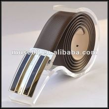 Guangzhou wholesale brown Italy men genuine leather belt with stainless steel belt buckle