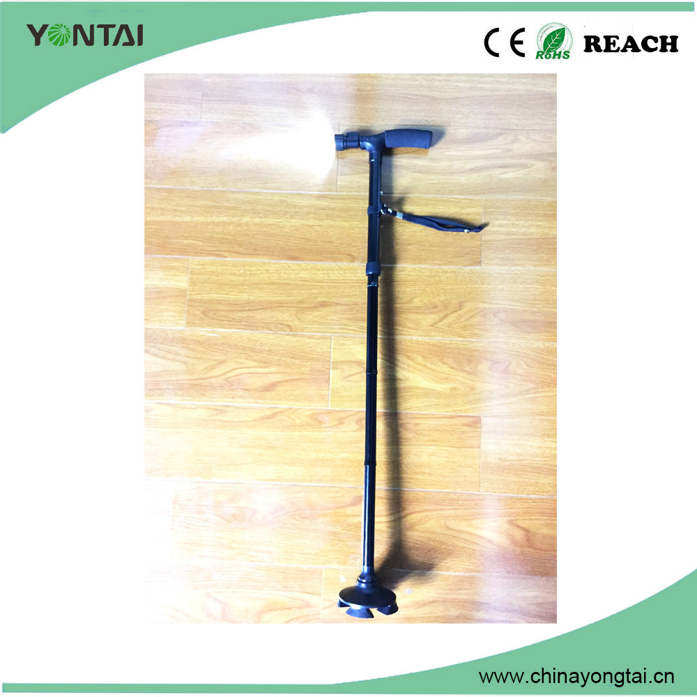 Hot sale Aluminum alloy convenient rotating folding tripod bending brass walking stick handles