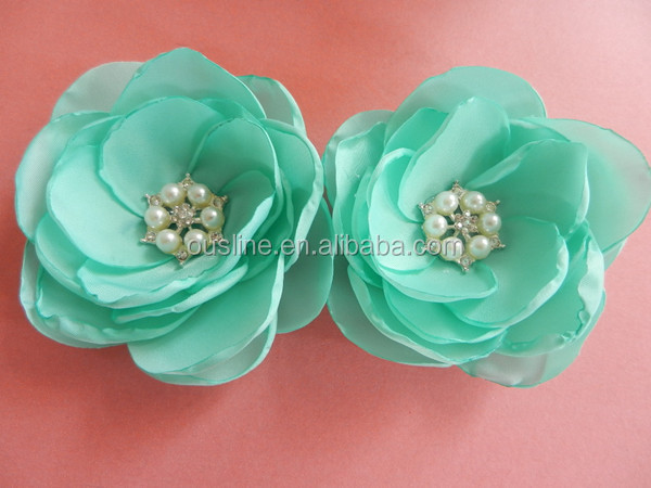 satin fabric composition flower with pearl center for girls