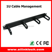 1U 19 inch Metal Horizontal Cable Management With 4pcs Plastic Rings
