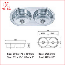 stainless steel double bowl round kitchen sink