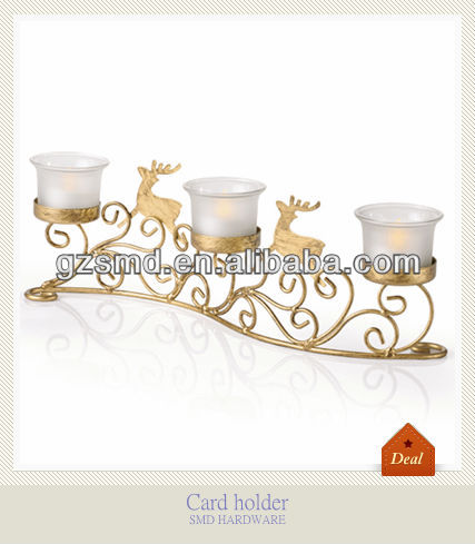Golden christmas deer iron candle holder