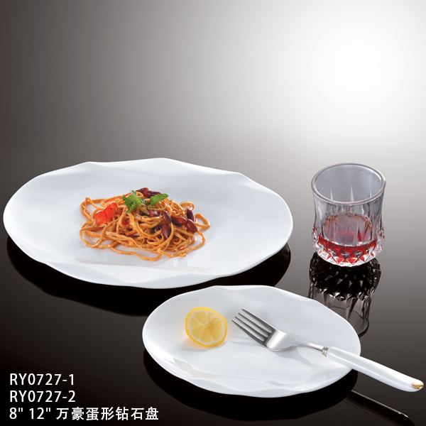 Water cube series hotel&restaurant white ceramic triangle plate, homeware,porcelain tableware