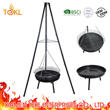 Dutch Charcoal Barbecue German Swing Balcony Hanging BBQ Steel Grill Designs with Tripod Legs for Picnic Camping Outdoor Cooking
