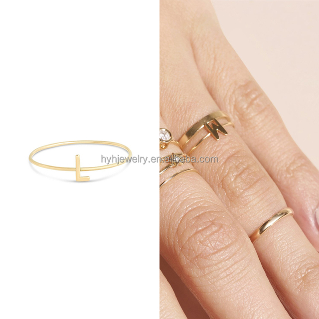 Fancy custom handmade initial jewelry solid real 14k alphabet 1 gram gold ring designs