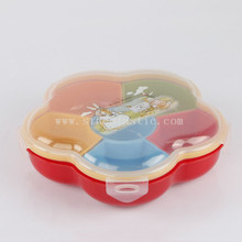 flower shape 6 dividers plastic candy box tray with lid