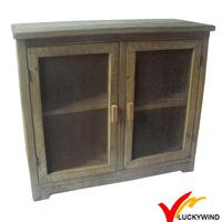 french country vintage reclaimed wood furniture with mesh doors