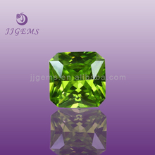 Square shape synthetic dark apple green cubic zirconia