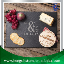Handmade Wholesale Natural Edge 35*25*0.5cm Rectangle Customized Laser Engraved Black Slate Food Board Serving From Slate