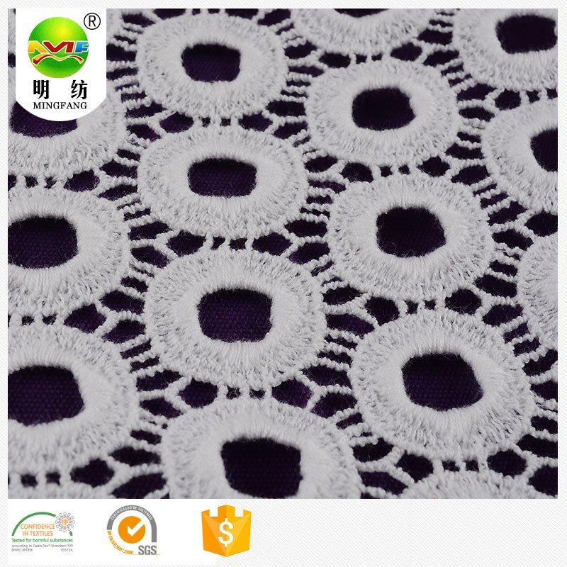 material textile 100 cotton white chemical lace embroidery fabric