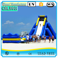 2016 QiLing hot sale outdoor hippo commercial giant inflatable water slide for adult with pool