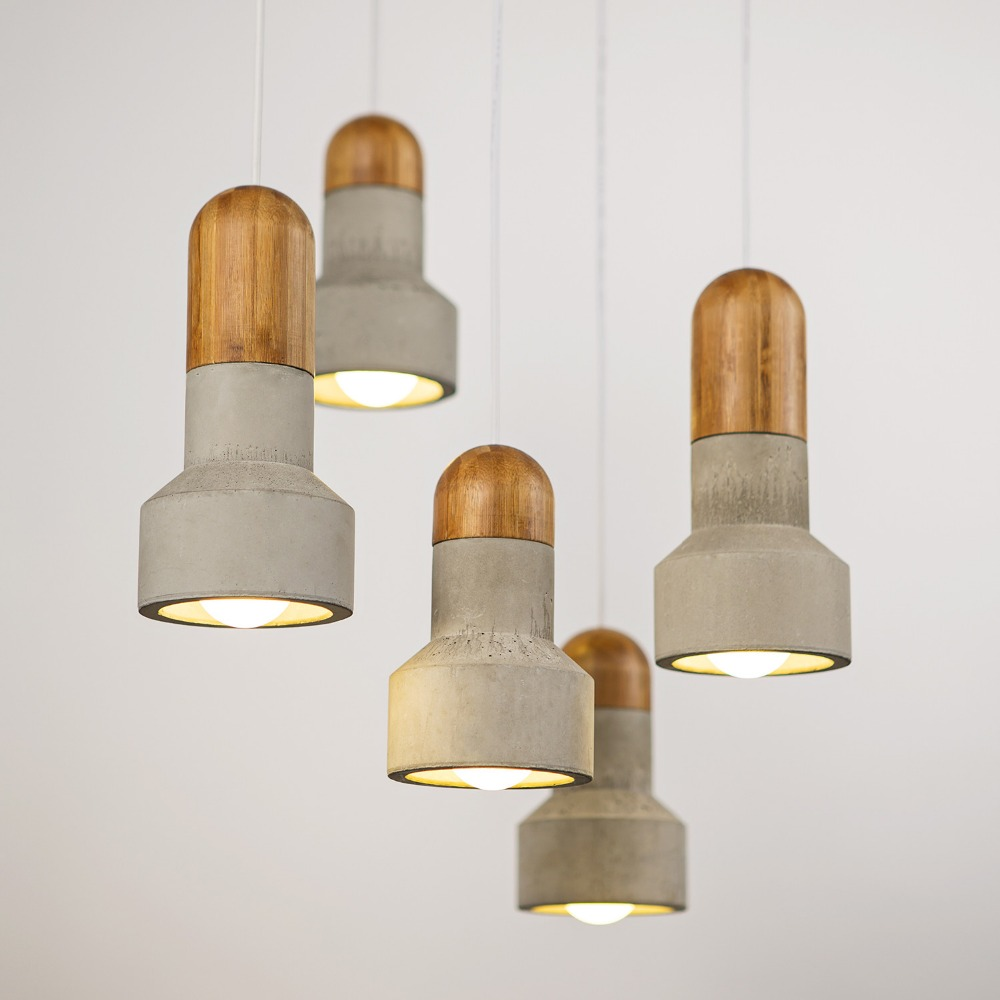 custom <strong>modern</strong> bamboo fancy cement ceiling lamp office study room loft pendant lights