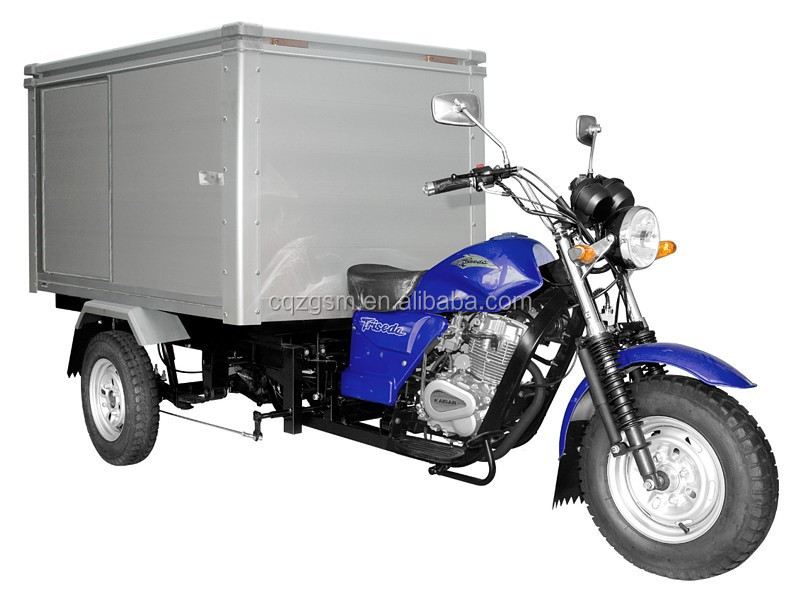 motorized tricycle with closed cargo box