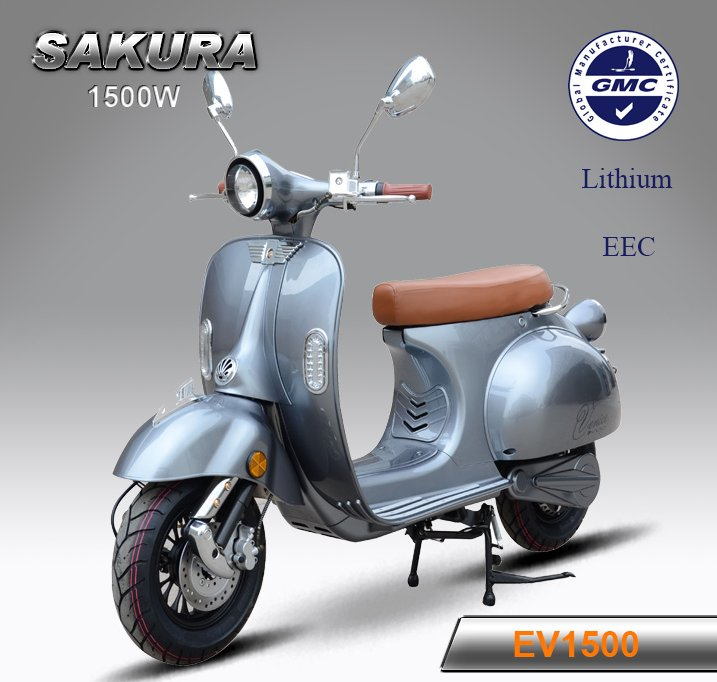 classic vespa similar high speed 1500w electric scooter with lithium battery and eec certificate