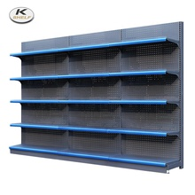 Guangzhou Factory Cold-Rolled Steel Retail <strong>Shelves</strong>, Standard Supermarket Wall Shelving, Single-sided Grocery Store Display <strong>Shelf</strong>